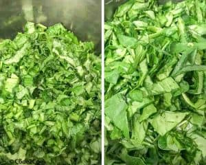 chopped mustard greens & spinach