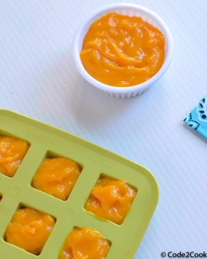mango puree shown in a ramekin & in ice tray