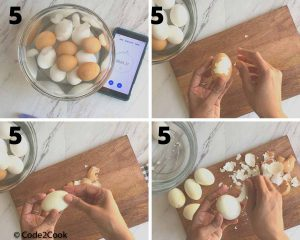 step by step shown how to peel eggs after ice bath