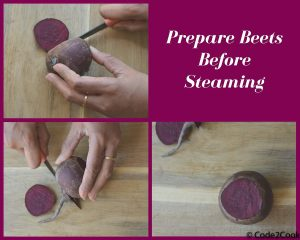 Trimming beets from both sides on a wooden board.