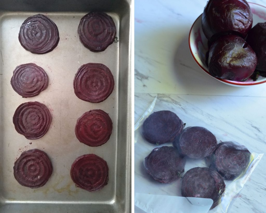 frozen beets are packed in freezer friendly bag.