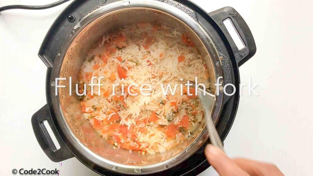 Click of Spanish rice, after opening the instant pot