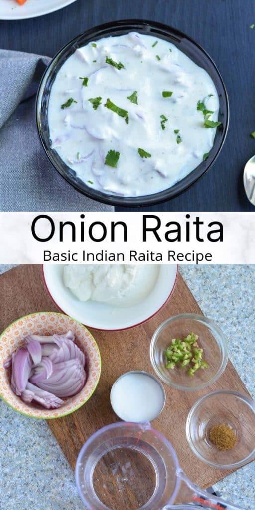 Pinterest image for onion raita recipe