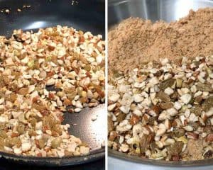 one seeds & nuts changes color transfer them to the same plate as wheat flour
