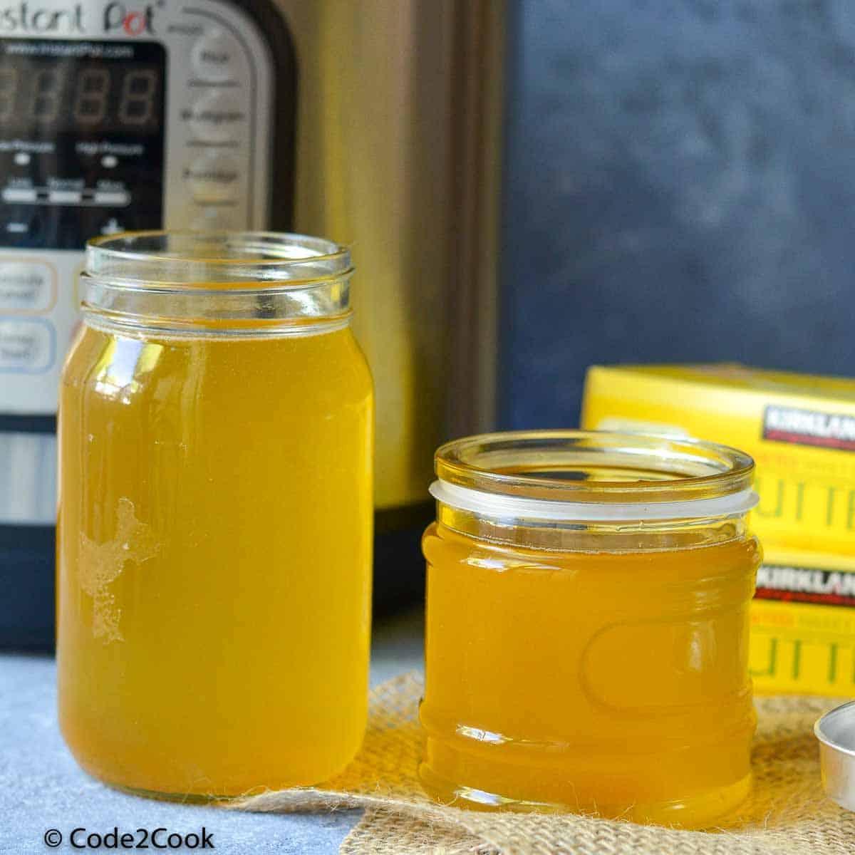 homemade ghee stored in glass jar.