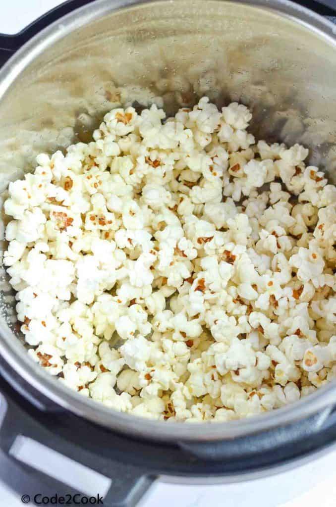 cooked popcorns in instant pot insert
