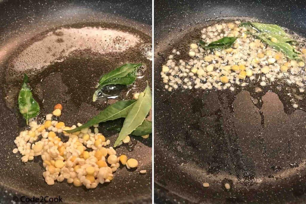 added soaked lentils, and curry leaves