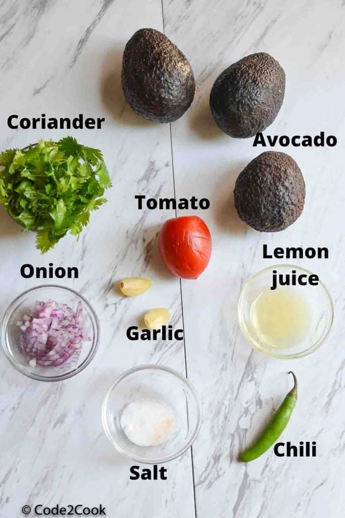 ingredients list of making homemade guacamole